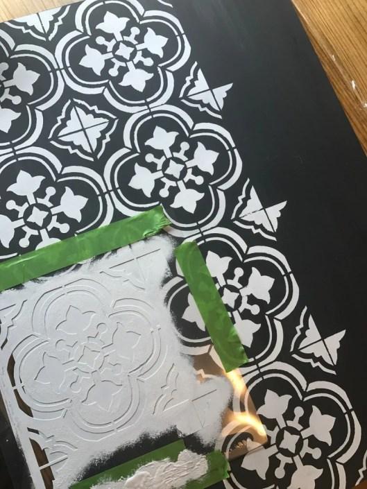 Cutting Edge Santa Ana Tile Stencil 1024x1024 - DIY Hairpin Coffee Table with Stenciled Tile
