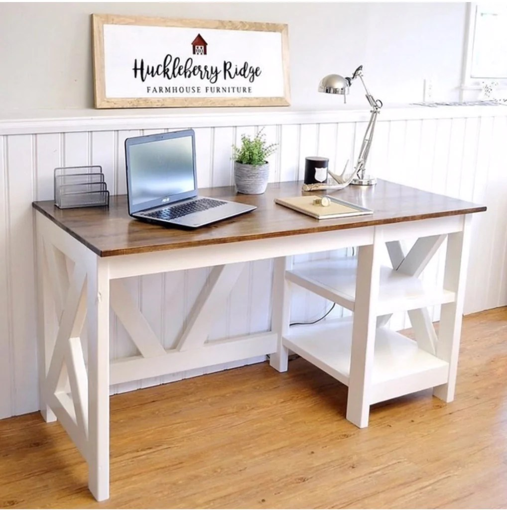 diy farmhouse x desk for the home office office [ 1018 x 1024 Pixel ]