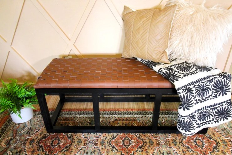 DIY Leather Bench 4 1024x1024 - DIY Leather Woven Bench