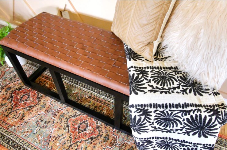DIY Leather Bench 6 1024x1024 - DIY Leather Woven Bench