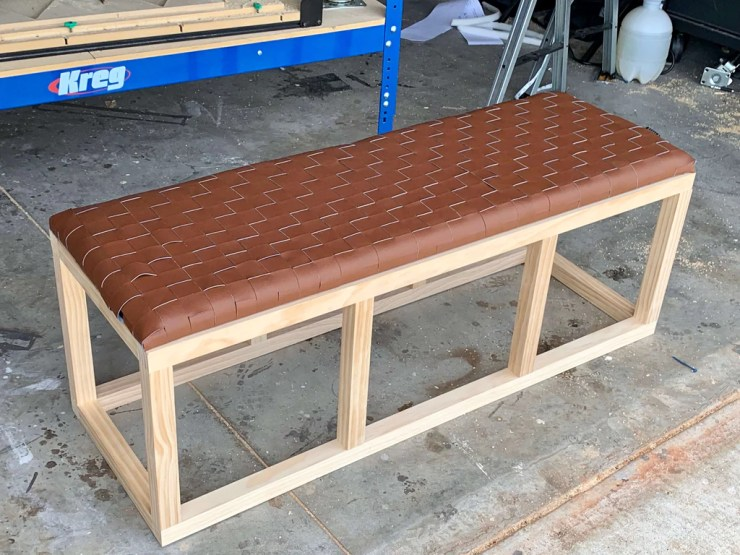 DIY Woven Leather Bench 10 1024x1024 - DIY Leather Woven Bench