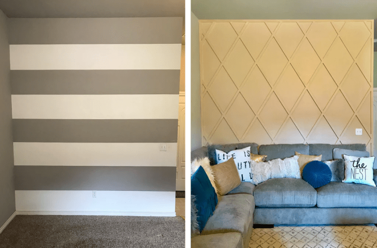 Wall Paneling Before and After 1024x1024 - DIY Paneled Wall