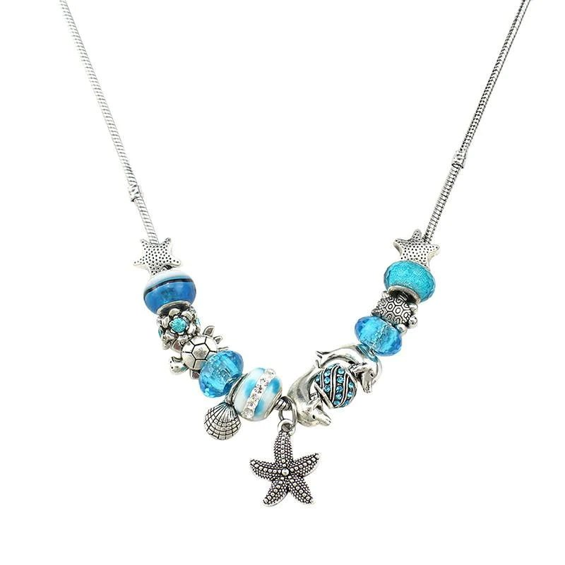 Blue Beads Necklace Starfish / Sea Turtle / Dolphin