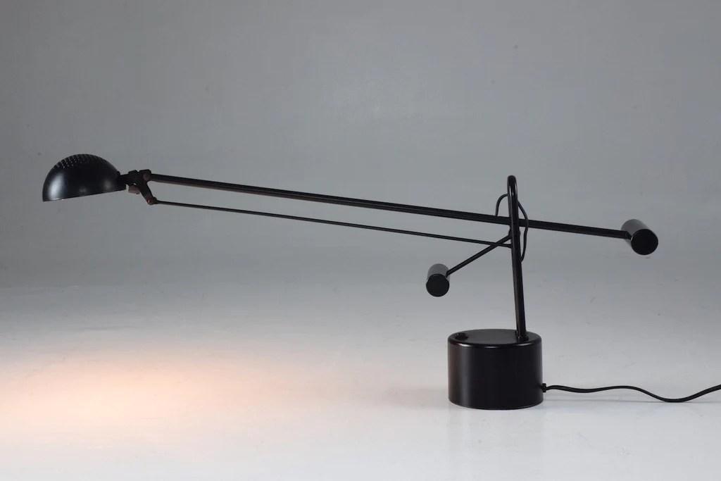 lampe de bureau en acier noir vintage italien par stilplast 1980 s