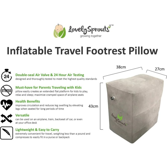 LovelySprouts Inflatable Travel Footrest Pillow