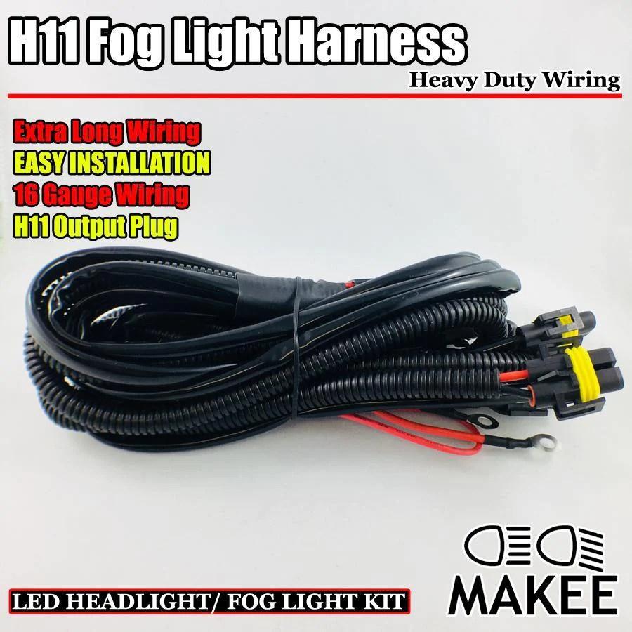headlight fog light lamp wiring harness with h11 9005 9006 880 sockets heavy duty  [ 900 x 900 Pixel ]