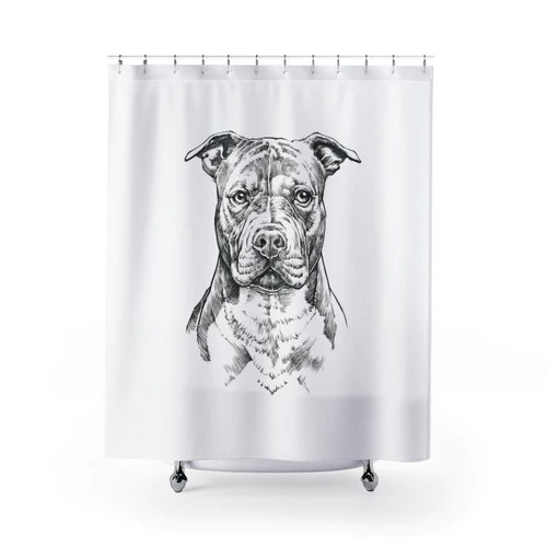 pit bull shower curtain pittie dog bathroom decor