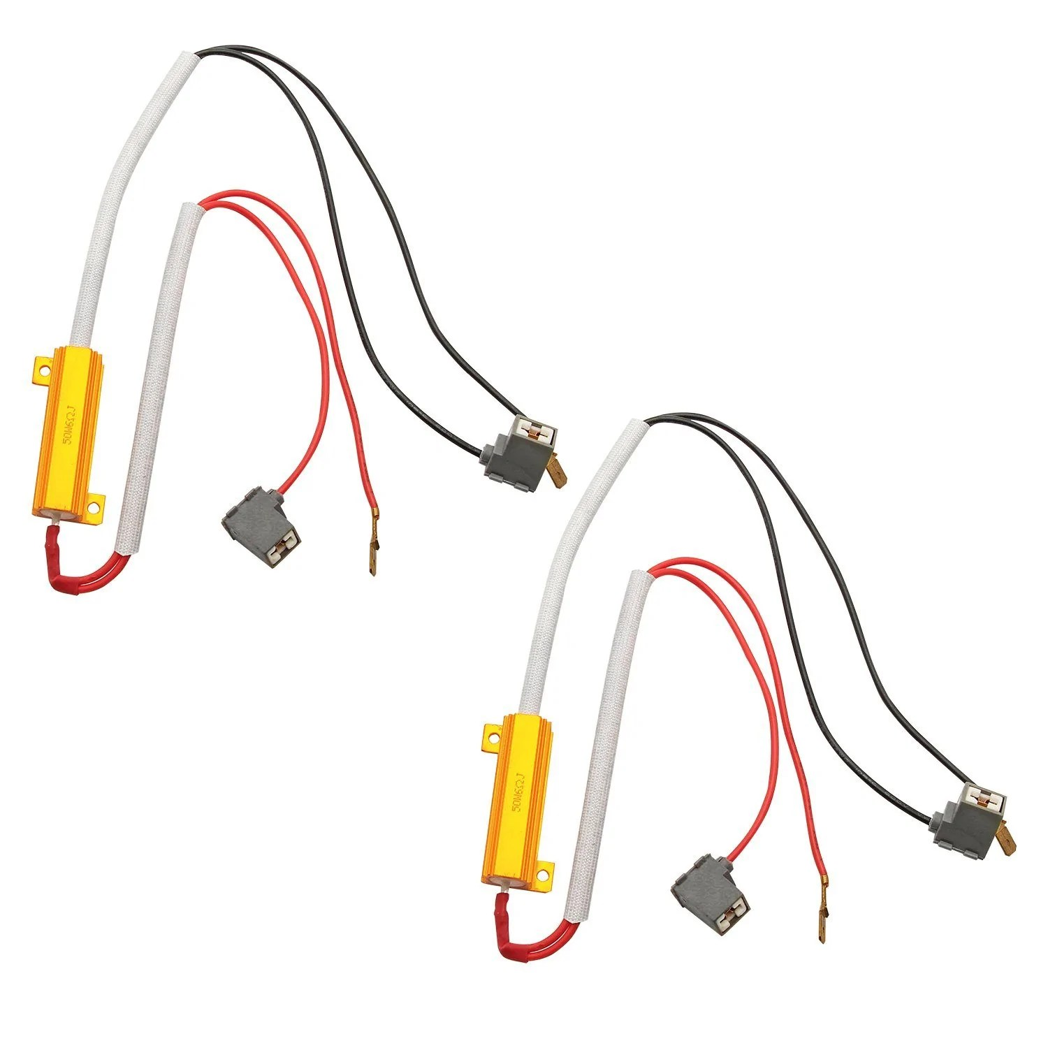 hight resolution of h1 h3 hid led 50w 6ohm resistor relay kit wiring harness adapter