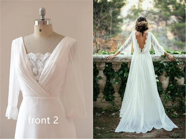 Long Sleeve Lace Boho Backless Wedding Dress