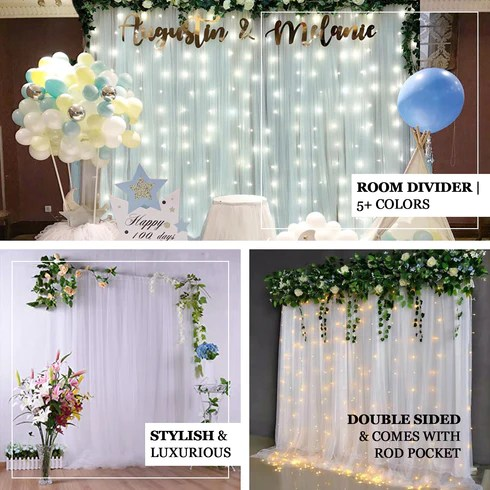 5ft x 10ft double sided tulle backdrop sheer curtain panels with satin rod pockets white