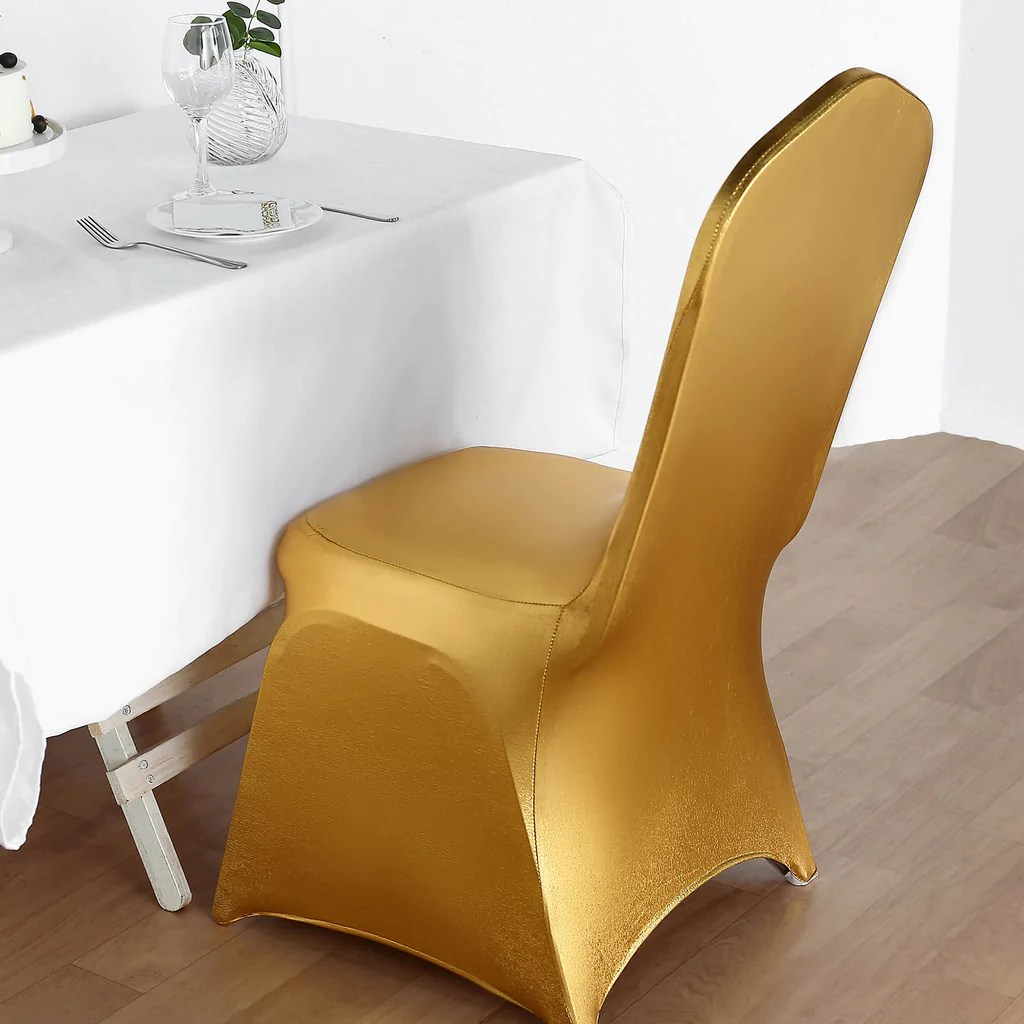 gold polyester chair covers barcelona uk metallic premium spandex banquet cover for