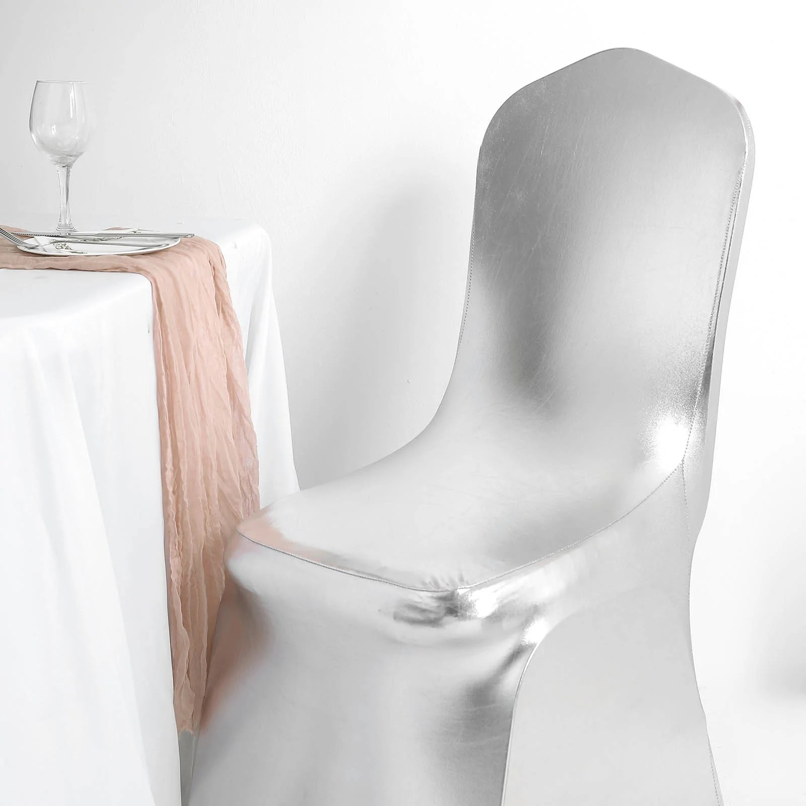 spandex banquet chair covers for sale wedding rotherham metallic silver glittering shiny premium