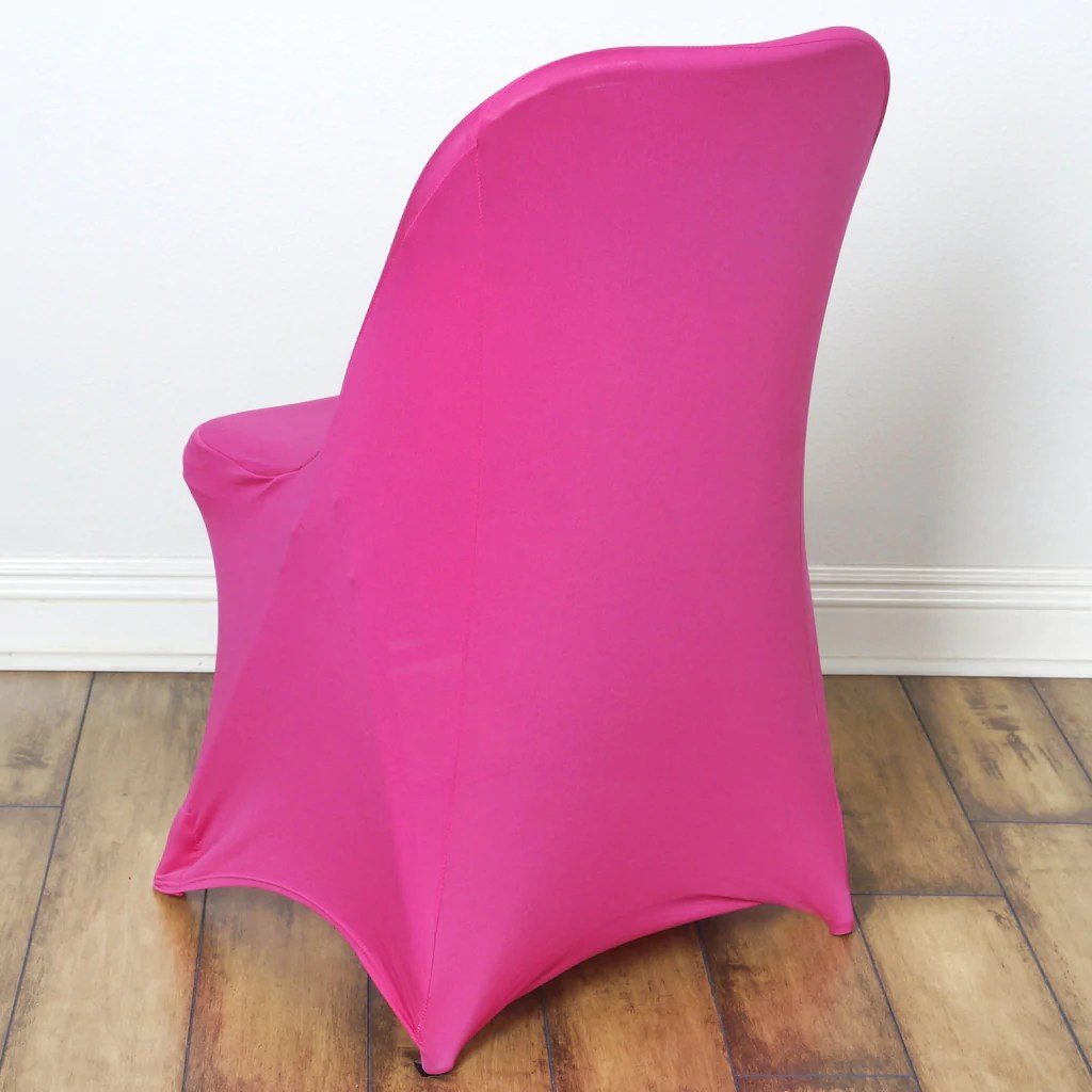 will folding chair covers fit banquet chairs revolving cylinder sleek spandex cover fushia efavormart