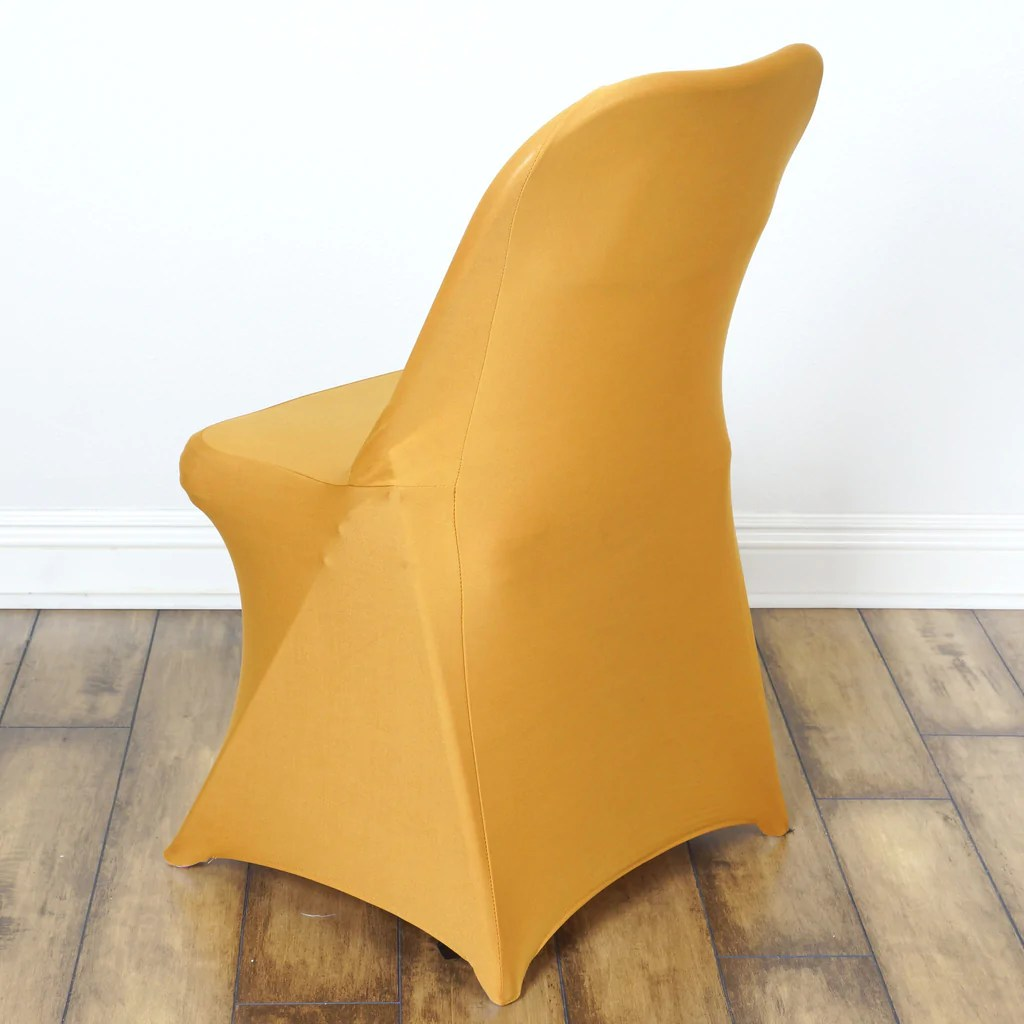 gold polyester chair covers round couch sleek spandex folding cover efavormart