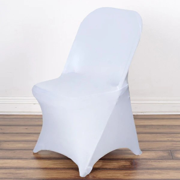 spandex chair covers for lifetime folding chairs big boy bean bag stretch cover - white   efavormart