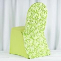 Green Banquet Chair Covers White Velvet Uk Satin Rosette Apple Stretch Spandex