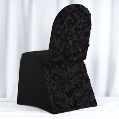 Black Spandex Chair Covers For Sale Swing Seat Vote Satin Rosette Stretch Banquet Cover
