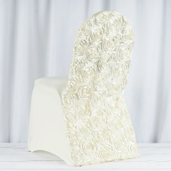 Ivory Spandex Chair Covers For Sale Metal Rocking Runners Satin Rosette Stretch Banquet Cover