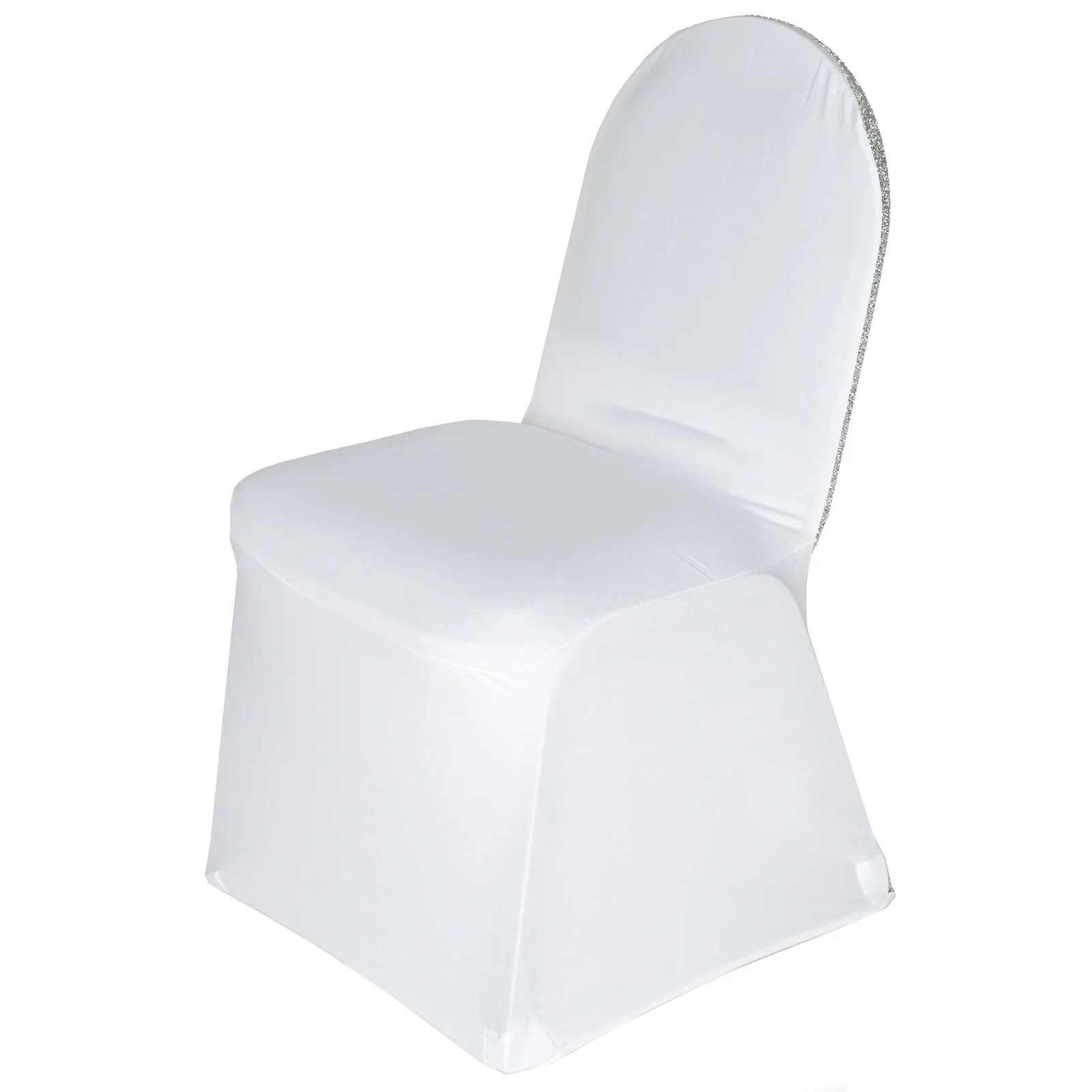 glitter chair covers for sale nordic posture white spandex stretch banquet cover with silver
