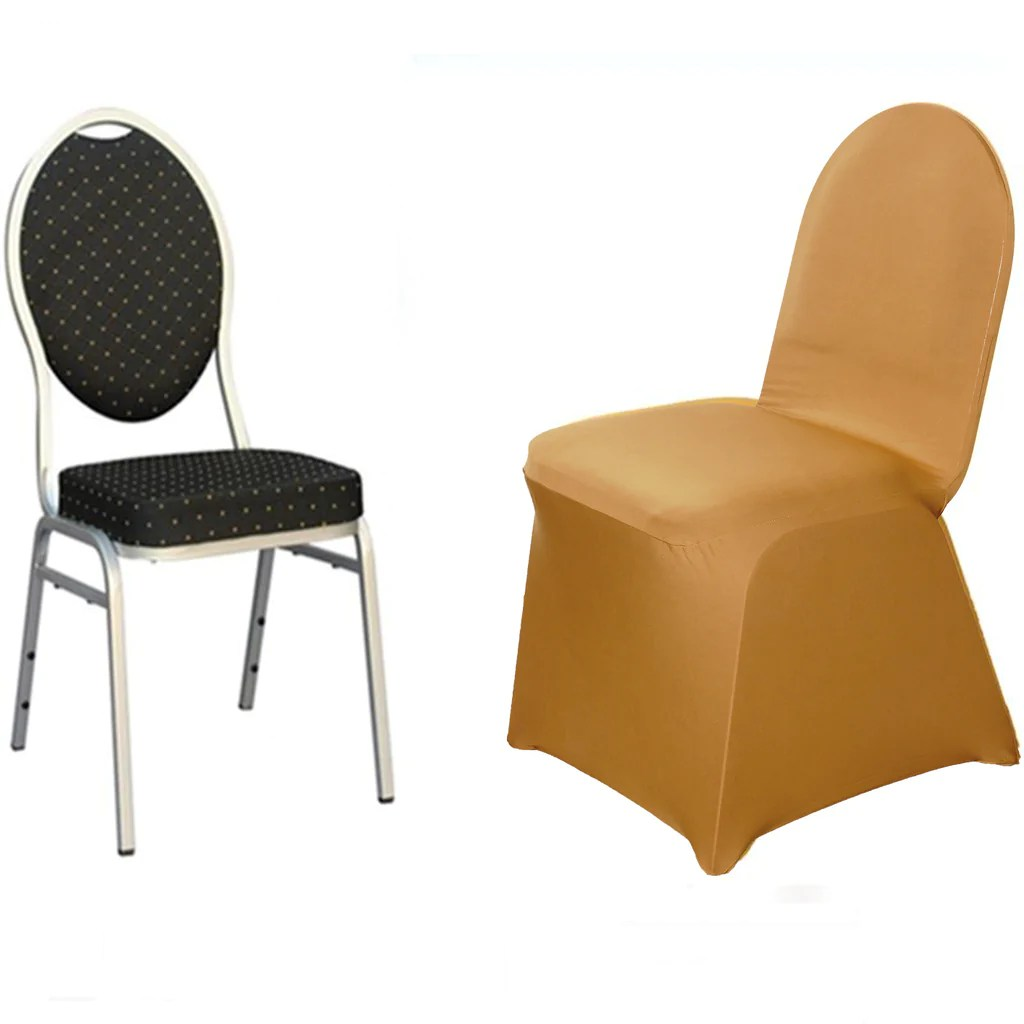 gold polyester chair covers massage sharper image spandex cover efavormart