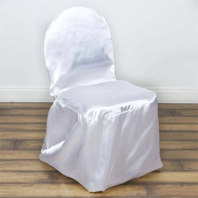 white banquet chair covers pool float satin efavormart