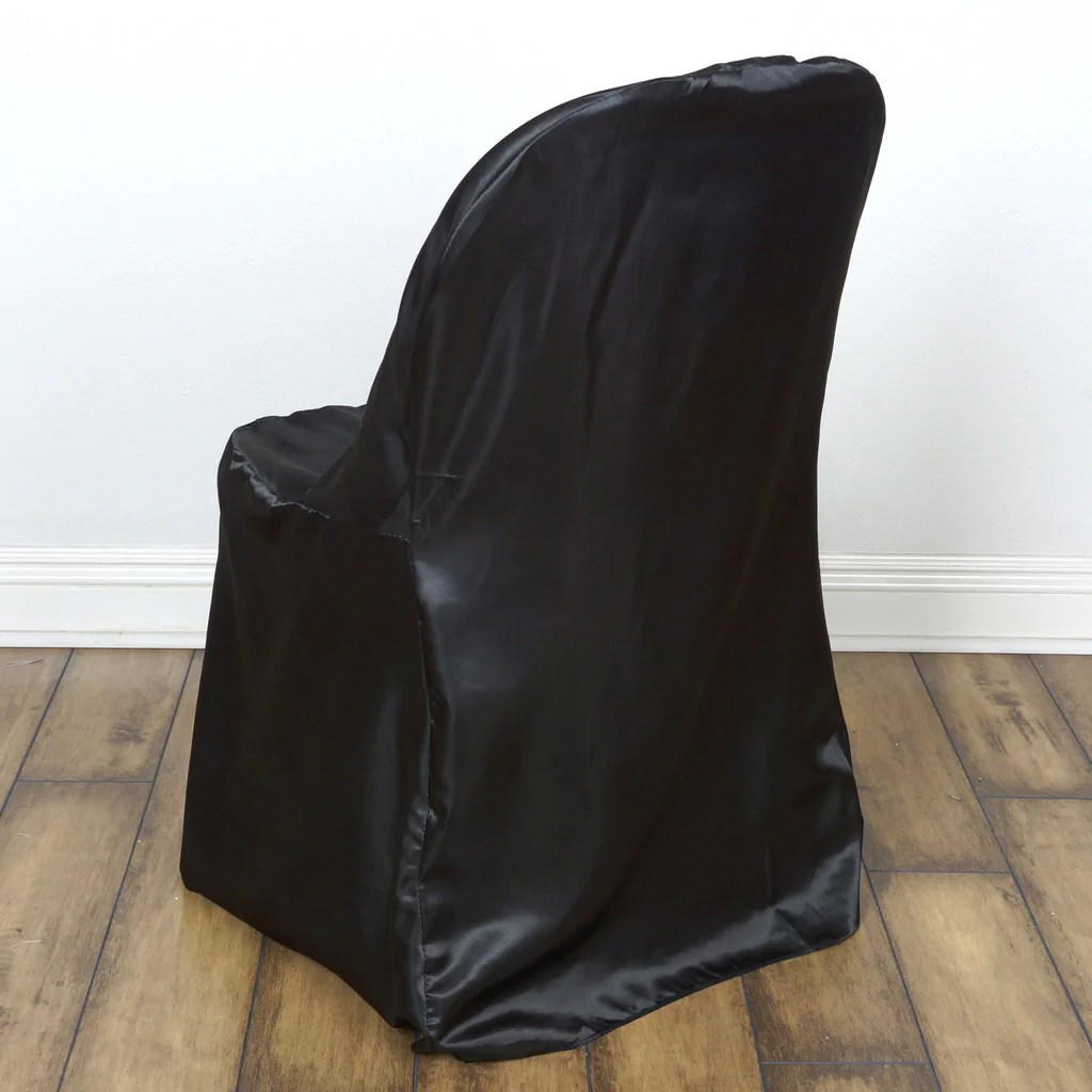 covers for folding chairs alera elusion chair uk black satin cover efavormart