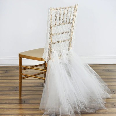 efavormart wedding chair covers swivel rocking chairs ivory lace and tulle tutu bridal party