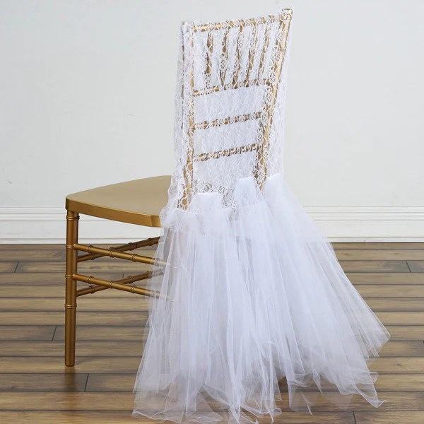 chair covers for white folding chairs the wooden bridal party lace and tulle tutu - | efavormart