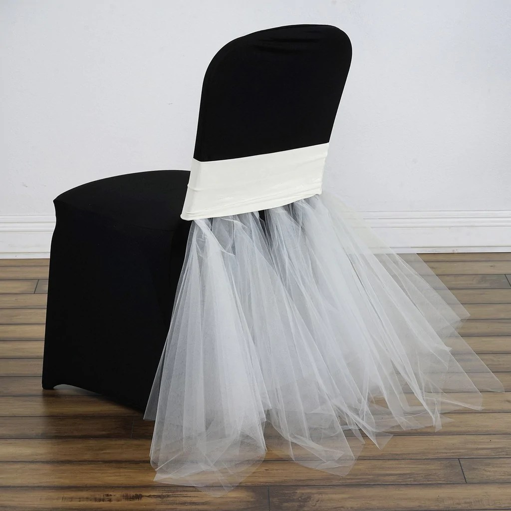 ivory spandex chair covers for sale office houston bridal party tulle tutu skirts