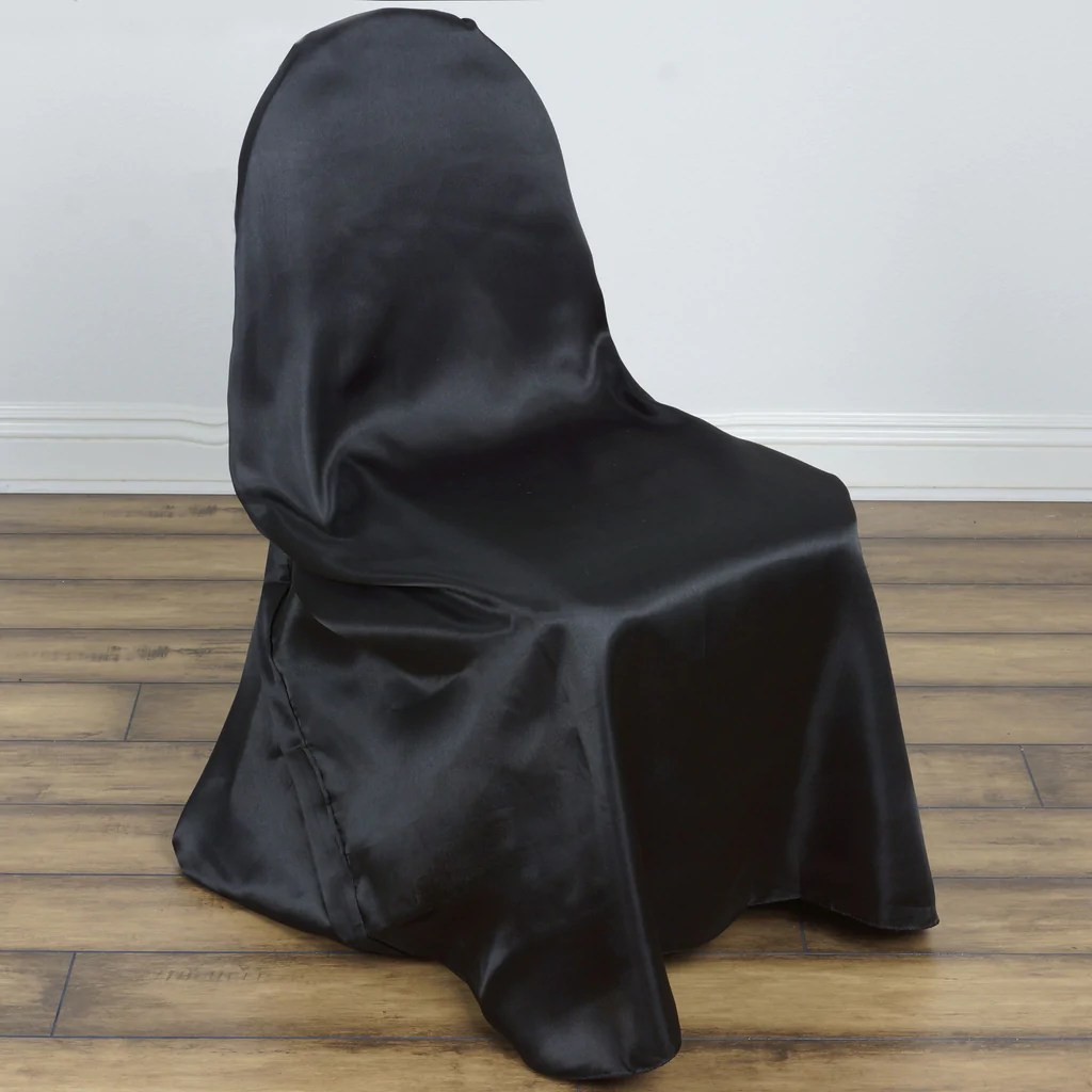 black banquet chair covers for sale ikea poang universal satin cover decor efavormart
