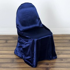 Universal Wedding Chair Covers Teal Dining Room Navy Satin Cover For Banquet Party