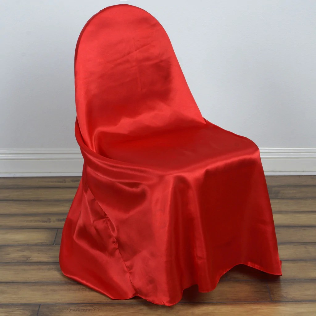 Red Chair Sashes Universal Satin Chair Cover Decor Red Efavormart