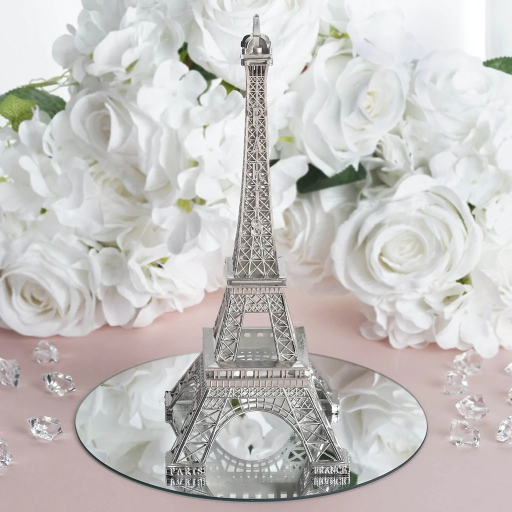 Treasured Affection Eiffel Tower Centerpiece 10  Silver