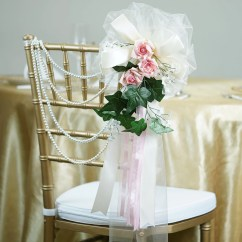 Advanced Church Chairs Wicker Barrel Chair Cushions 24 Quot Satin Organza Ribbon Ivy Foliage Accented With Rose