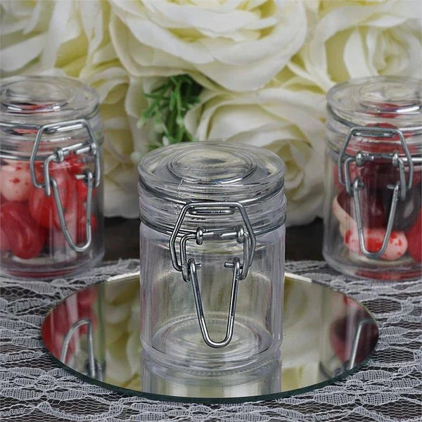 efavormart wedding chair covers cover express los angeles ca wholesale plastic clear containers candy beverage favor jar with flip lid - 12 pcs |