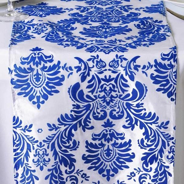 Wholesale Royal Blue Taffeta Flocking Table Runner For