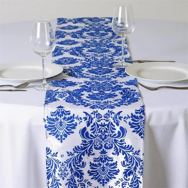Royal Blue Flocking Table Runner  eFavorMart