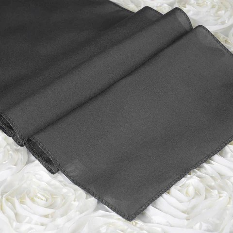 12x108 Charcoal Gray Polyester Table Runner EFavorMart