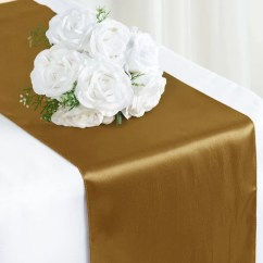 Gold Universal Chair Covers Office - Qxi-02 Satin Table Runner | Efavormart