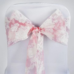 Flower Chair Sashes For Wedding Fishing Not Working Sheer Organza Sash With Floral Designs Pink 5pcs