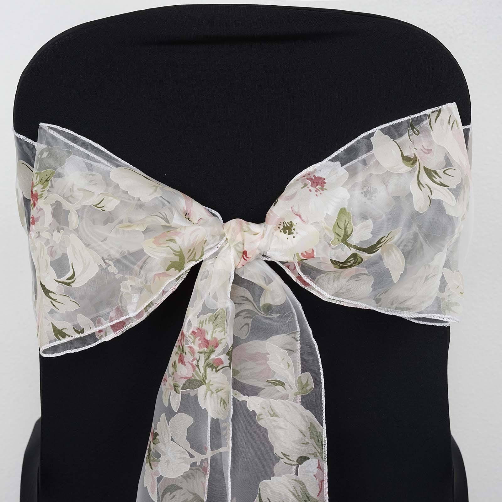 blush chair sashes gym ball uk white sheer organza sash with roses designs