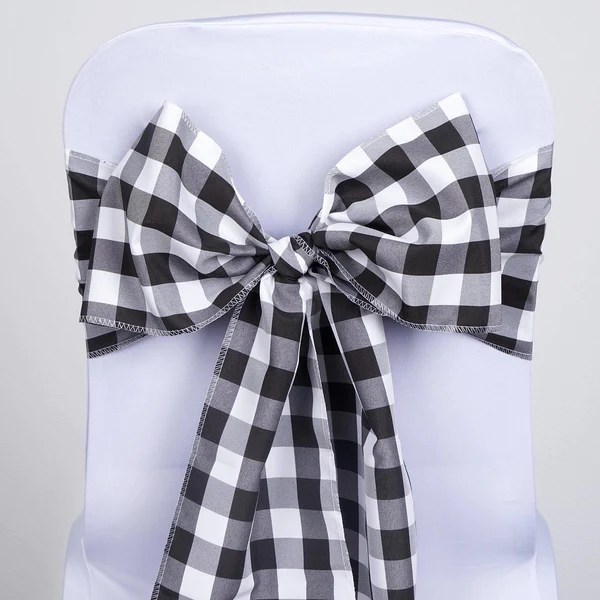 universal chair covers wholesale swivel for home office 5 pcs black/white gingham polyester sashes tie bows catering outdoor party decorations ...