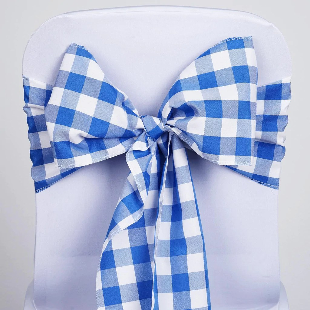 royal blue chair sashes hydraulic base 5 pcs white gingham polyester tie