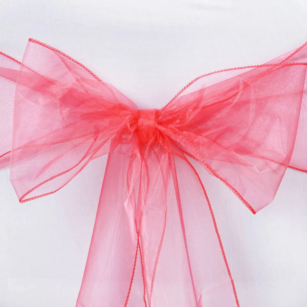 coral sashes for wedding chairs hammock chair diy 5 pcs wholesale sheer organza tie bows