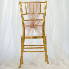 Blush Chair Sashes Oversized Cushions 5 Pcs Wholesale Sheer Organza Tie Bows
