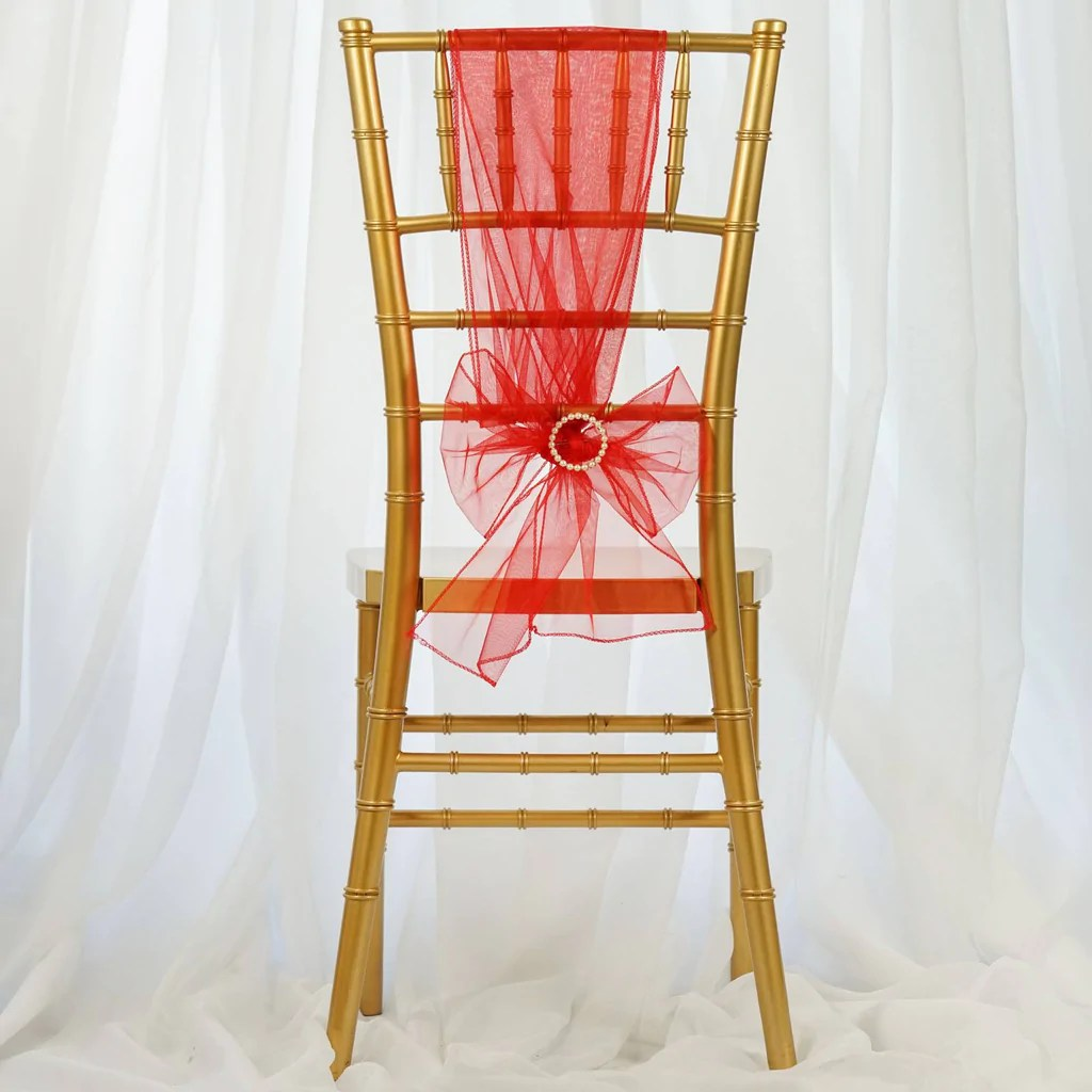 Red Chair Sashes 5 Pcs Wholesale Red Sheer Organza Chair Sashes Tie Bows
