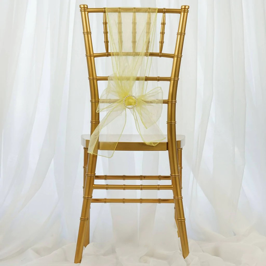 cheap yellow chair covers hanging yoga 5 pcs wholesale organza sashes tie bows