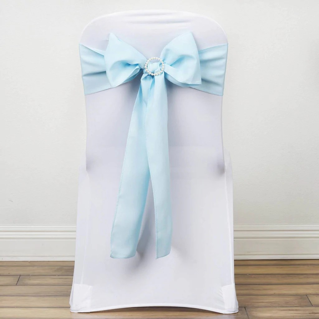 light blue chair covers pop up polyester sash efavormart