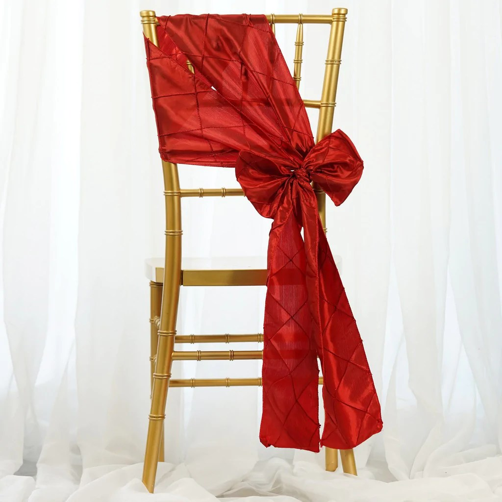 Red Chair Sashes 5 Pcs Red Pintuck Chair Sashes Catering Wedding Party