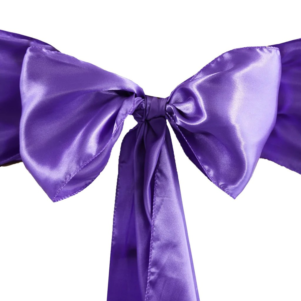 purple chair sashes for weddings pool towel covers satin sash 5pcs efavormart
